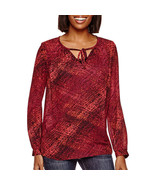 a.n.a Long-Sleeve Tie-Front Peasant Blouse Size L New Msrp $44.00 - $14.99