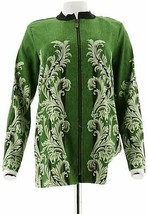 Bob Mackie Zip Front Rococo Printed Moleskin Jacket Olive Multi XS NEW A... - $19.78