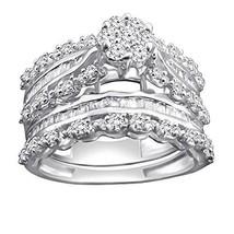 0.92 Ct Round & Baguette Natural Diamond Sterling Silver Engagement Bridal Set - $480.59