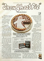 1973 Hershey's Cocoa and Baking Chocolate Print Ad Snow Ghost Pie Recipe - $10.69
