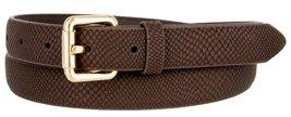 Skinny Women's Snakeskin Embossed Leather Casual Dress Fashion Belt (Brown, M... - $6.92