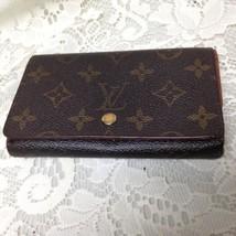 Authentic Louis Vuitton Mono Brown Leather Bi-Fold -Zip Wallet 5.5in x3.5in (#4) - $151.95
