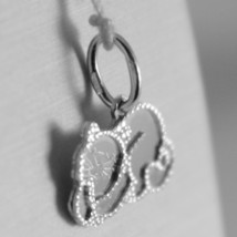 18K WHITE GOLD LITTLE CAT FLAT PENDANT FINELY WORKED, MADE IN ITALY image 2