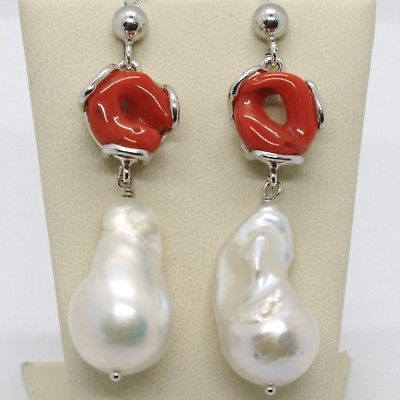 925 STERLING SILVER PENDANT EARRINGS WITH RED CORAL AND BIG BAROQUE PEARL