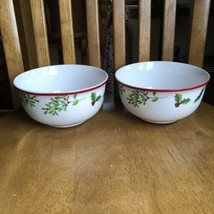 Royal Norfolk Christmas Holly Berry Stoneware Soup Cereal Bowls Set of 2 NWT - $11.88