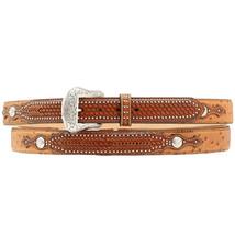 "U-8-38 38"" Nocona Leather Mens Ostrich Print Weave Belt Tan - $52.95"