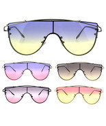 Oceanic Tie Dye Gradient Shield Robotic Futurism Sunglasses - £11.38 GBP