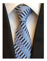 Men Ties Blue With Grey White Stripes Tie Business Party Student Necktie - $17.17