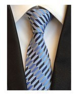 Men Ties Blue With Grey White Stripes Tie Business Party Student Necktie - $22.77 CAD