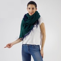 Winter Warm Scarf Shawl For Women Green Color With Tassel Design Soft Fa... - $43.55
