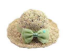 PANDA SUPERSTORE Creative Summer Straw Beach Bow Cream-Colored Girl Hat