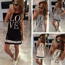 Sports Style Women Letter LOVE Printed Long T-shirt One-piece Casual Dress Zippe