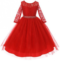 Red Floral Lace Easter Dress Holiday School Wedding Party - $47.52+