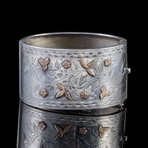Vintage Silver Cuff Bangle Gold 'Forget Me Not Dated' 1937 - $650.00