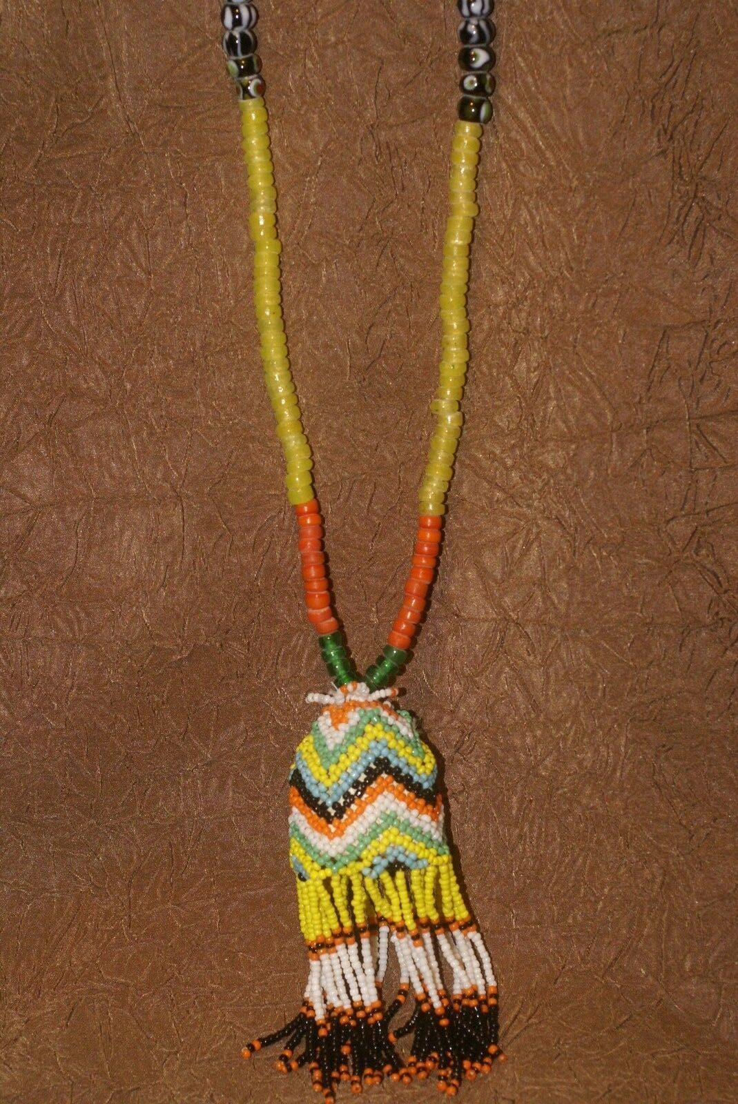 Tribal Kalimantan Old Beads Tassel Necklace Ethnic Status Symbol Hand Crafted -