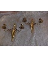 Pair Vintage Heavy EB Brass Signed Wall Sconces Double Candle Holders NICE - $74.25