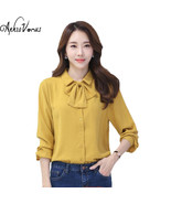 Womens Tops And Blouses Chemise Femme Blusas Feminina Office Lady Bow Ti... - $48.00