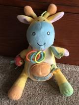 Manhattan Toy Yellow Blue Green Fleece Giraffe Rings Crinkle Mirror Baby... - $15.00