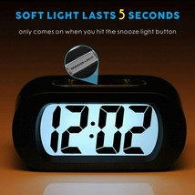 Plumeet Large Digital LCD Travel Alarm Clocks with Snooze and Night Light, Black image 2