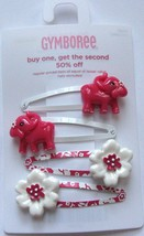 Gymboree Flower Bazaar Snap Clip Barrettes Elephant and Flowers NEW Cute Girl - $9.95
