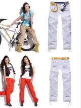 Womens White Cargo Pants Girls Harem Hip Hop Dance Baggy Pants Multi-pocket Casu