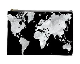 Cosmetics bag Pouch Purse Accessory Design 70 world map black grey gray ... - $224,36 MXN+