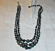 Exquisite Vintage Rainbow Scarab 3 Row Choker Necklace Mourning Goth Formal - $23.08