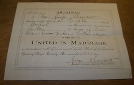 1914 ANTIQUE TIOGA COUNTY PA MARRIAGE CERTIFICATE CLAIR YAUDES ESTHER MA... - $9.89