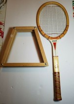 Vintage Japan Spalding Autograph Wooden Tennis Racket with Keeper - $9.69