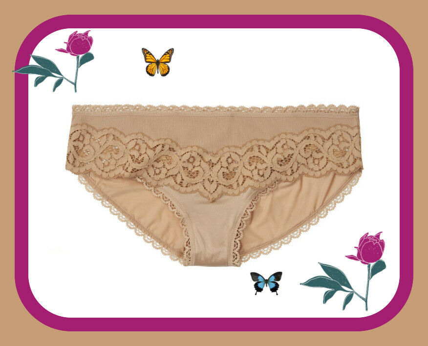 Primary image for M  Beige Body by Lace Detail Low Rise Full Cover Victorias Secret BIKINI Pantie