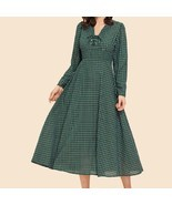 Green V Neck Lace Up Detail Grid Print Longline A Line Flared Shift Dress - $1.239,84 MXN