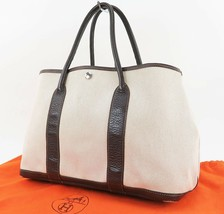 Authentic HERMES Toile H Beige and Brown Garden Party Tote Bag Purse #32592 - $639.00