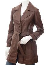 QASTAN Women's New Elegant / Sophisticated Brown Long Sheep Leather Coat... - $177.21+