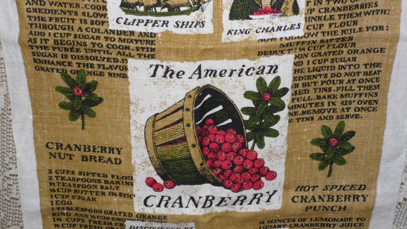 "VINTAGE 1980'S LINEN CLOTH KITCHEN TOWEL COUNTRY ""THE AMERICAN CRANBERRY"" SIGNED"