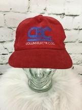 CEC Collins Electric Co Men's Snapback Hat Red Corduroy Ball Cap Vintage - $14.84
