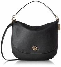 Coach Women's Pebbled Turnlock Hobo LI/Black Hobo Bag 36762 LIBLK - $199.00