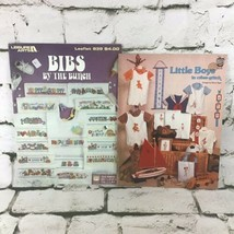 Cross Stitch Pattern Books Leaflets Lot Of 2 Babies Bibs Little Boys VTG 90's - $9.89
