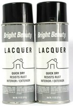 2 Cans Bright Beauty 11 Oz Lacquer BBL377 Gloss Black Quick Dry Spray Pa... - $16.99