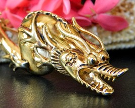 Sea Serpent Dragon Brooch Pin Asian Chinese Figural Designer Signed - $54.95