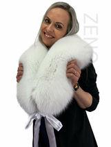 Arctic Fox Fur Collar 47' Saga Furs Pure White Color Fur Shawl Wrap Scar... - $189.00