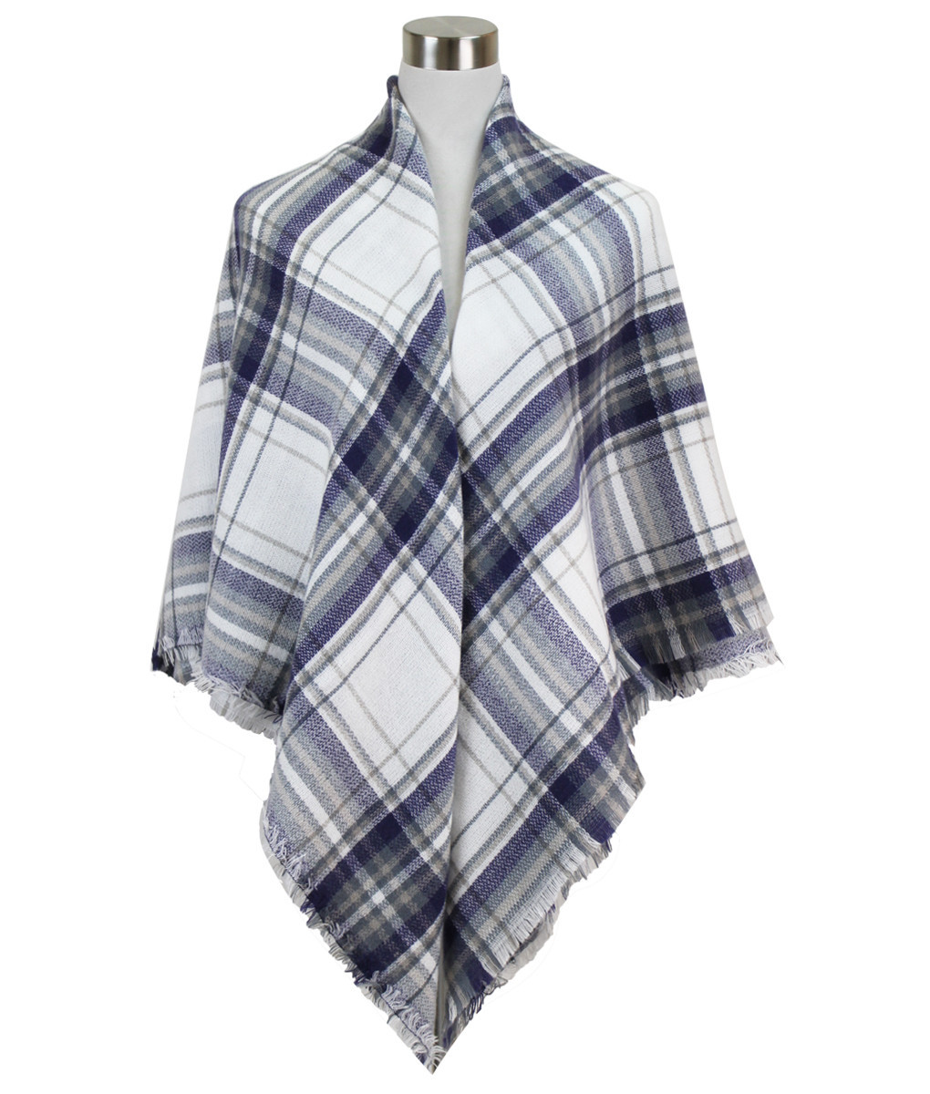 Soft Plaid Blanket Scarf