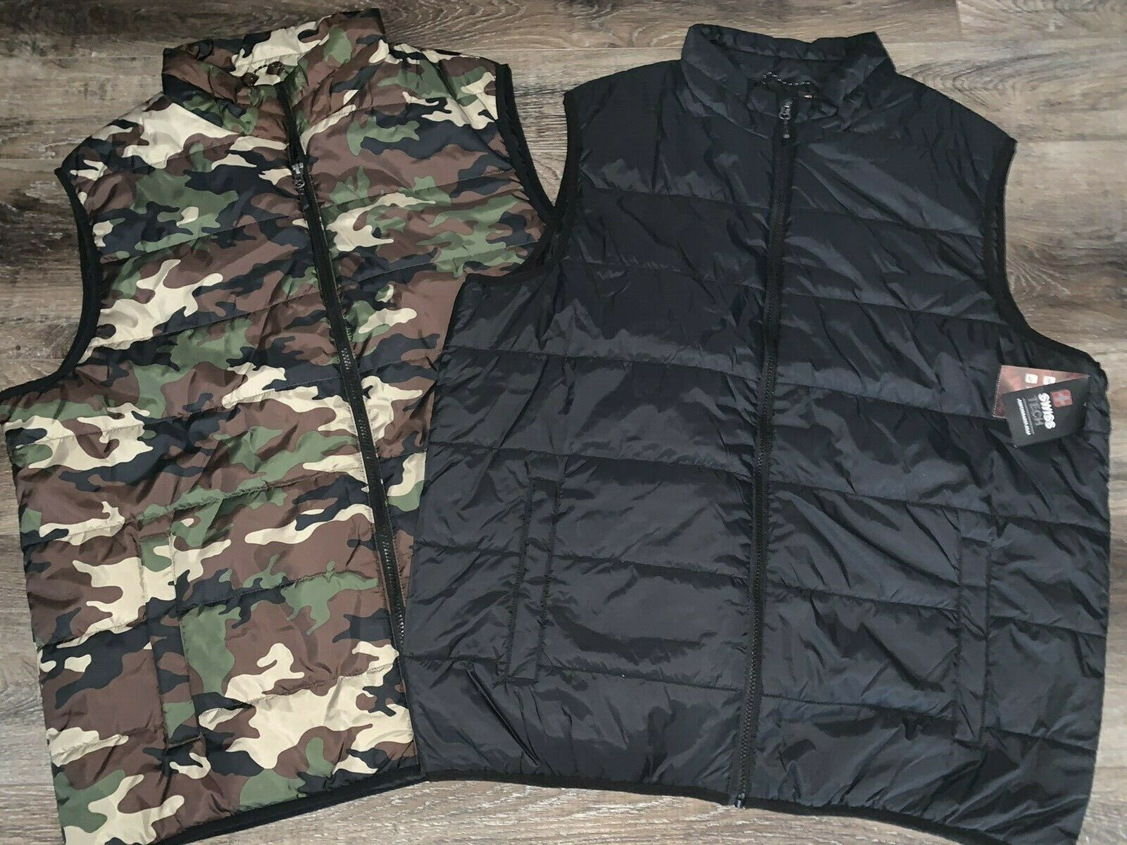 Primary image for Swiss Tech ~ Men's Puffy Vest Camouflage Black 1-Vest ~ Choose Size & Color