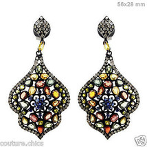 14k Gold Sapphire Gemstone Designer Dangle Fine Earrings Diamond Pave 92... - $1,126.30