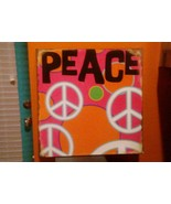 """Peace word & Symbols""  METAL DECORATIVE SIGN DENNIS EAST INT. 11.25"" Sq... - $9.89"