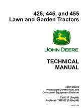 John Deere 425 445 455 lawn garden tractor TM1517 Shop Repair Service Ma... - $19.95