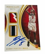 Bobby Portis Jr Auto Patch Rookie RPA 2015 Immaculate RC /75 Bucks jersey logo - $890.95