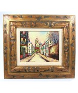 """Cityscape with Church Oil on 8"""" x 10"""" canvas Board Signed with Gold Gilt... - $124.18"""