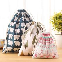 (02 size M)Travel Home Linen Cotton Storage Drawstring Bag Vintage Reusable Tote - $14.00