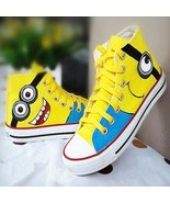 Unisex Hand Painted Minion Women Canvas Sneakers - $47.06