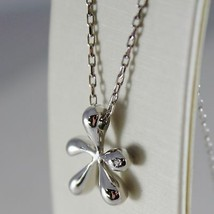 18K WHITE GOLD OVAL CHAIN NECKLACE AND STAIN SPLASH WITH DIAMOND, MADE IN ITALY image 2